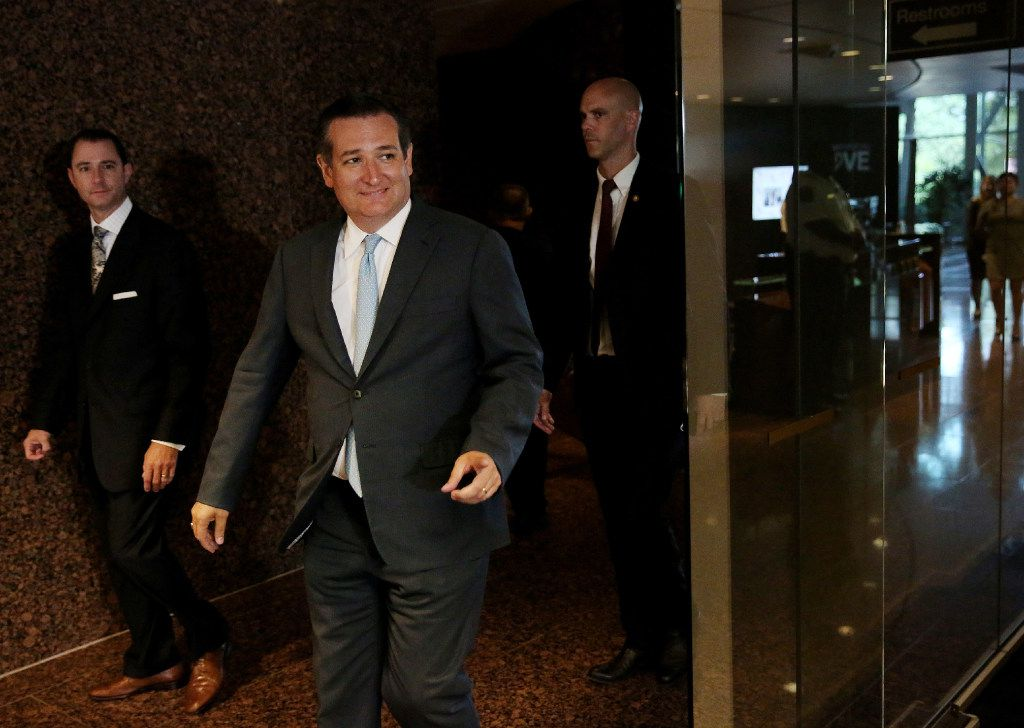 Texas Sen. Ted Cruz walked in to speak to reporters at the headquarters of Mary Kay in Addison last August.