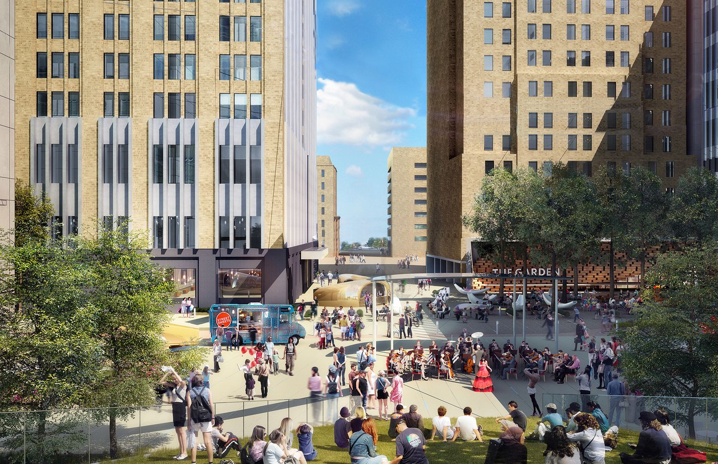 The public plaza along Commerce Street would be rebuilt with gathering areas and eateries.