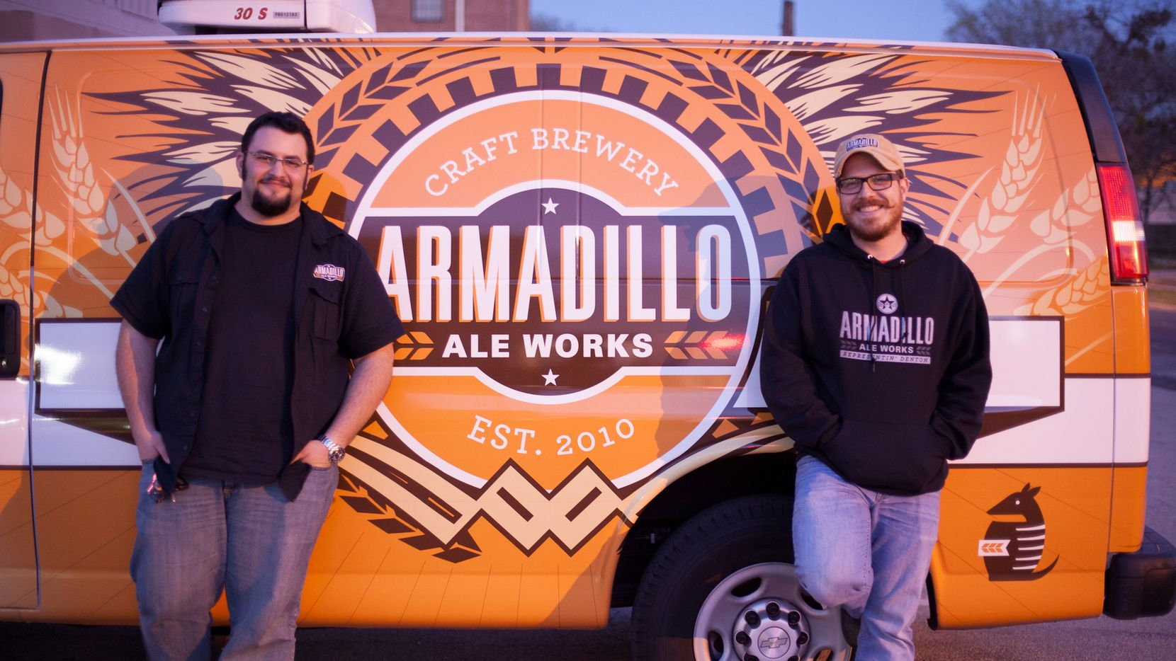 From left to right: Yianni Arestis and Bobby Mullins, founders of Denton brand Armadillo Ale Works.