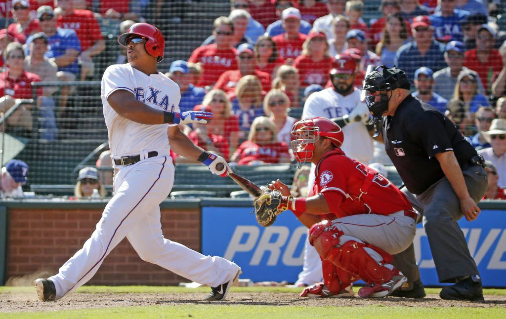Texas Rangers third baseman Adrian Beltre (29) is pictured during the Los Angeles Angels vs. the Texas Rangers major league baseball game at Globe Life Park in Arlington on Saturday, October 3, 2015. (Louis DeLuca/The Dallas Morning News)