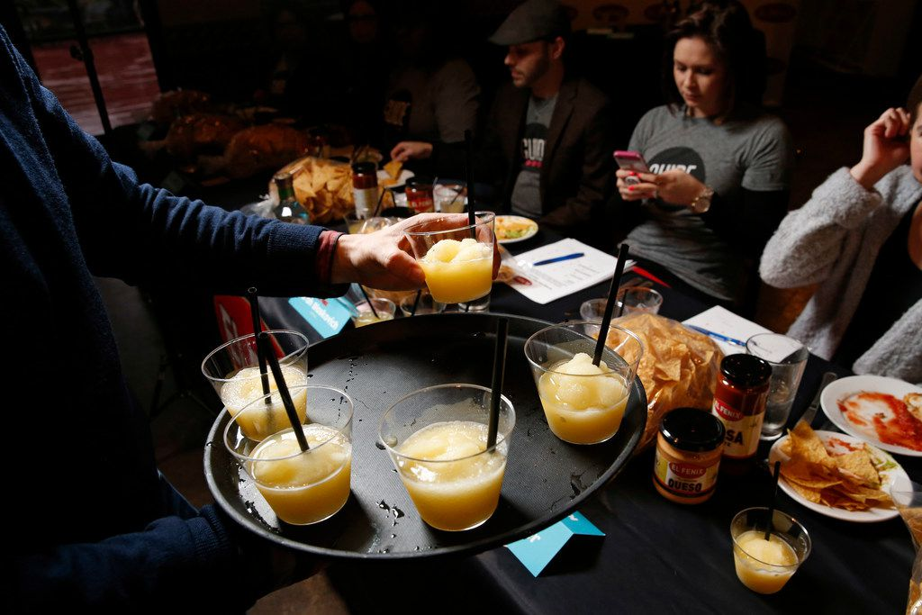 The Orange you glad you had a Margarita is served during the margarita taste test at El Fenix in Dallas on Feb. 22, 2018. (Nathan Hunsinger/The Dallas Morning News)