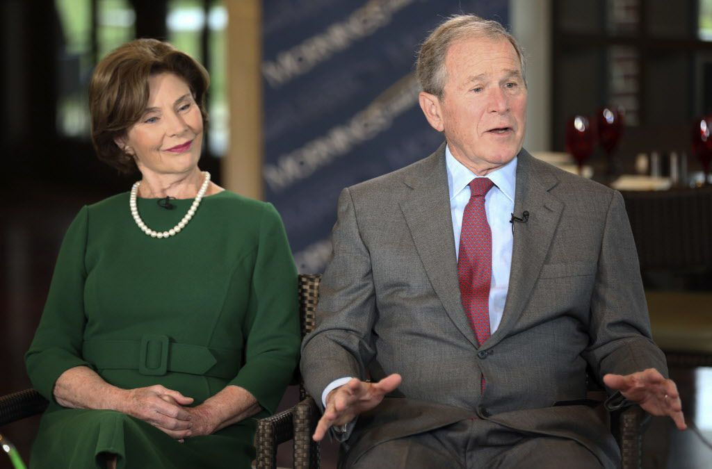Former President George W. Bush and Laura Bush are interviewed at the George W. Bush Presidential Library  April 18, 2018, in Dallas. Bush spoke about his mother, the late Barbara Bush, the wife of former President George H.W. Bush, who died Tuesday.