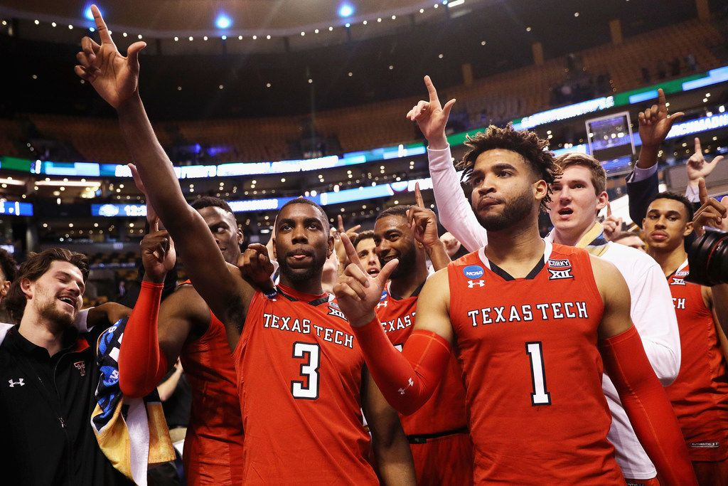BOSTON, MA - MARCH 23:  Josh Webster #3 and Brandone Francis #1 of the Texas Tech Red Raiders  celebrate defeating the Purdue Boilermakers 78-65 in the 2018 NCAA Men's Basketball Tournament East Regional at TD Garden on March 23, 2018 in Boston, Massachusetts.  (Photo by Maddie Meyer/Getty Images) ORG XMIT: 775103400