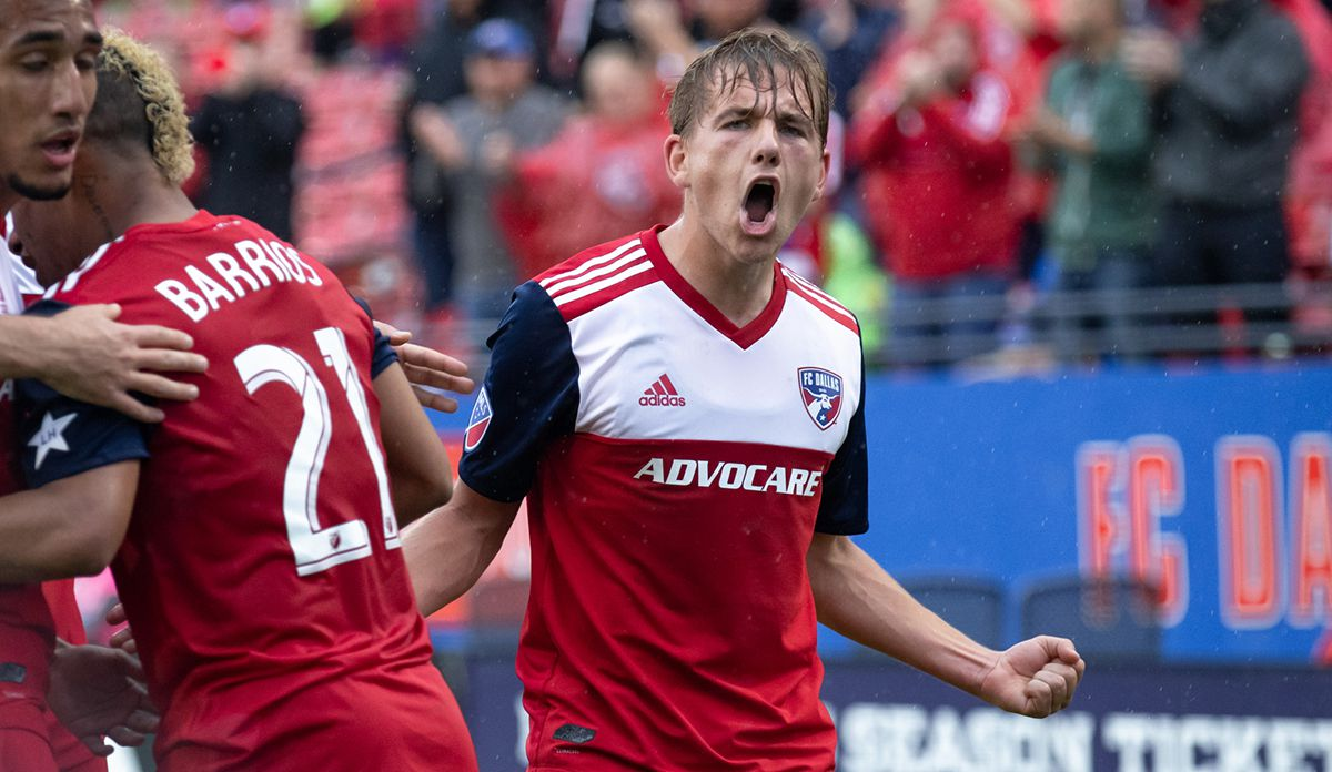 FRISCO, TX - MARCH 23: FC Dallas midfielder Paxton Pomykal (#19) celebrates a first half goal during the MLS game between FC Dallas and the Colorado Rapids on March 23, 2019 at Toyota Stadium in Frisco, Texas.  (Photo by Matthew Visinsky)