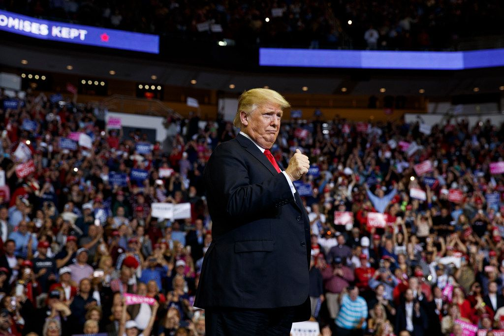 President Donald Trump arrives for a campaign rally for Sen. Ted Cruz, R-Texas, at Houston Toyota Center on Oct. 22, 2018. (AP Photo/Evan Vucci)
