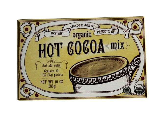 Hot chocolate by Trader Joe's. $3.29 at area locations and traderjoes.com.