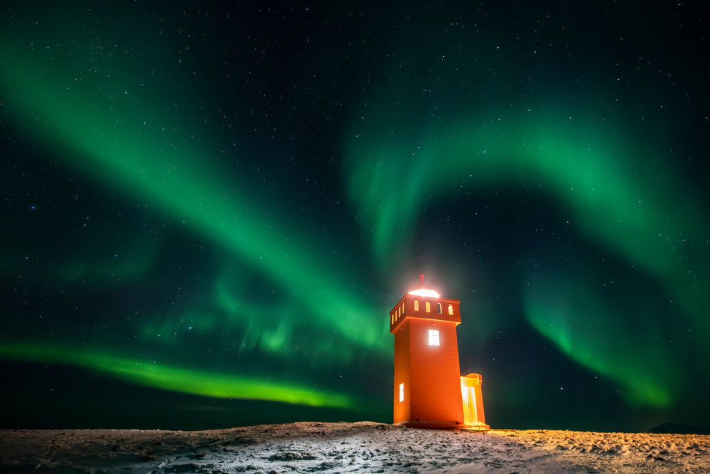 The northern lights were visible above a lighthouse in the village of Grundarfjorour, Iceland, in early February.