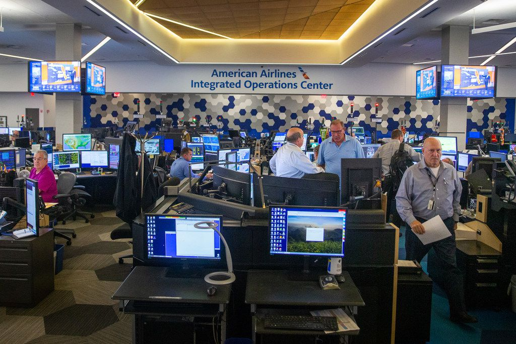 The Robert W. Baker Integrated Operations Center is photographed at the new American Airlines new campus and headquarters in Fort Worth, Texas, on Monday, Sep. 23, 2019. This building was the first one to be built for the campus in 2015. (Lynda M. Gonzalez/The Dallas Morning News)