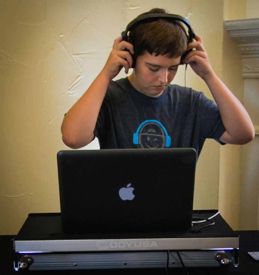 Alex Aughenbaugh, 14, practices DJing at his home in Southlake. Augehenbaugh attended the DJ camp OontzKidz DJ Academy last summer and has since booked around 15 gigs.tw