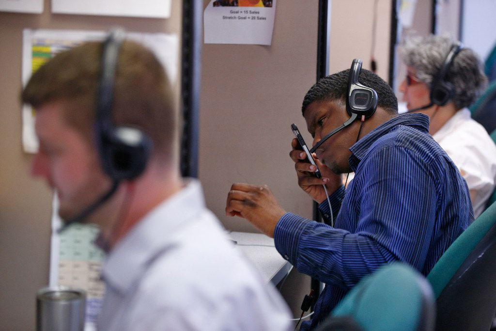 Alex Kamp, (from left) Steffan Williams and Gale Levitan work in the call center at Bold Sales Solutions, a subsidiary of Dallas Lighthouse for the Blind in Dallas on June 19, 2017.  (Nathan Hunsinger/The Dallas Morning News)