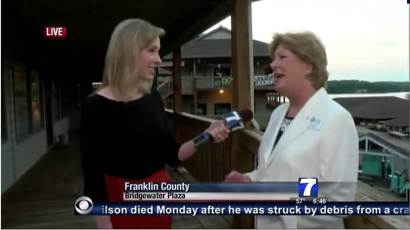 Reporter Alison Parker (left) was killed in a shooting on Wednesday, moments after this screen shot. Adam Ward, 27, a cameraman, was also killed.