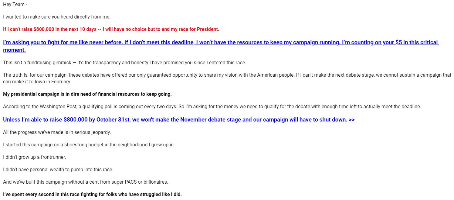 Julián Castro's Oct. 21 fundraising email