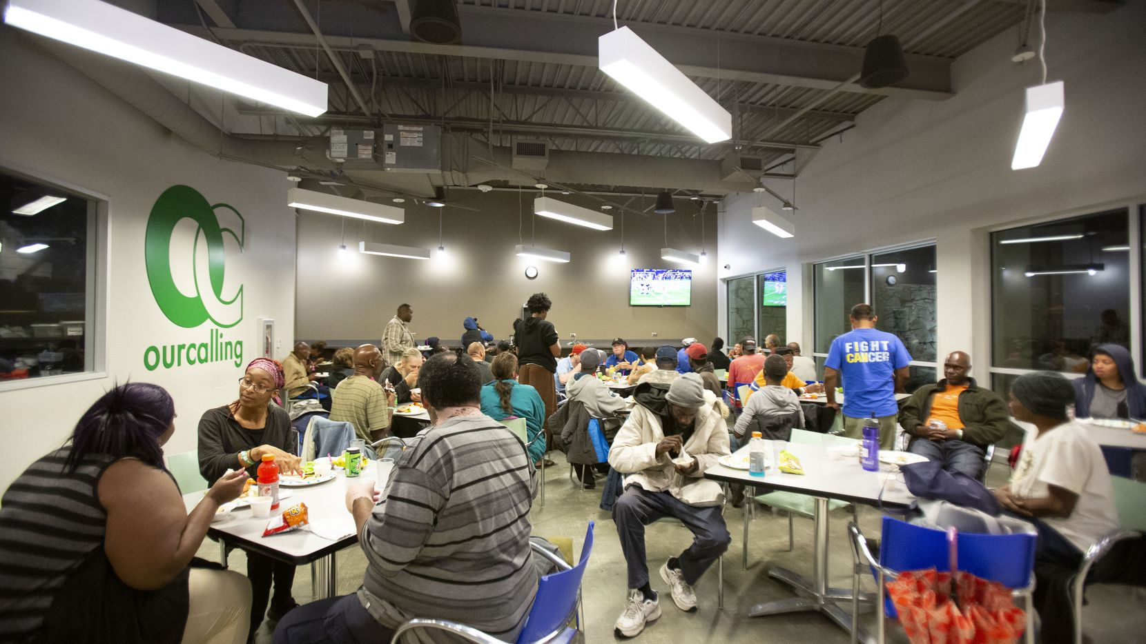 Every Monday night during football season, OurCalling, a faith-based, daytime outreach center for the unsheltered homeless, holds a Monday Night Football party drawing over 150 to the center in Dallas, Texas, Monday, November 5, 2018.