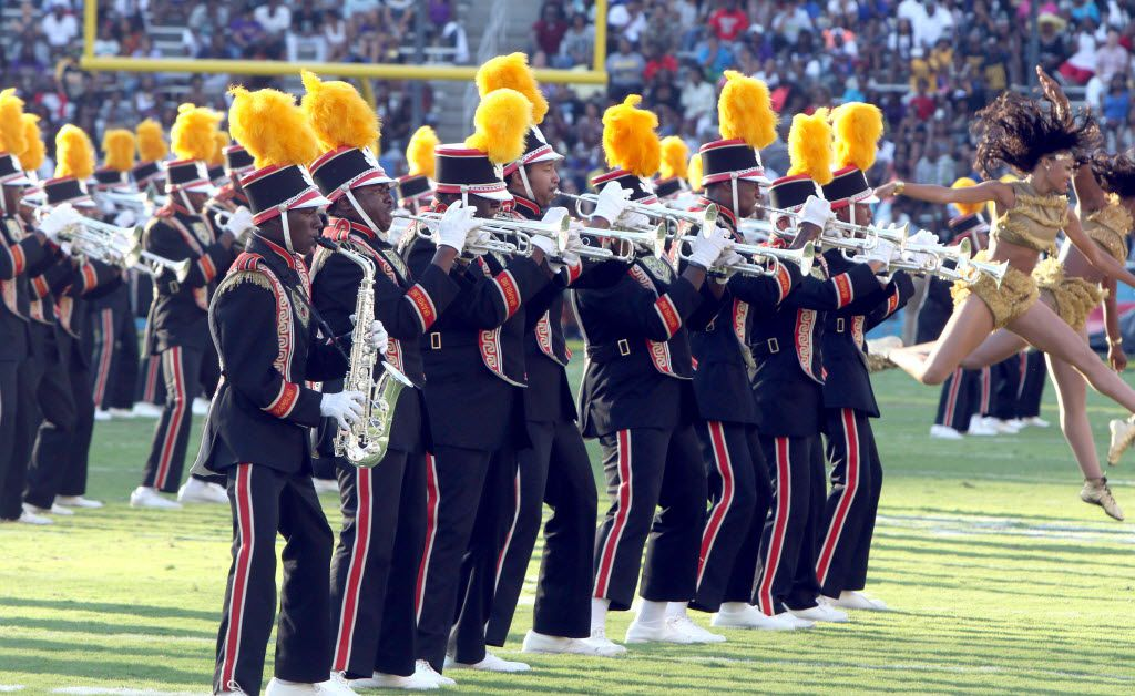 Members of the Grambling band entertain the crowd during the halftime show of the Prairie View A&M versus Grambling football game. The teams played in the annual State Fair Classic at the Cotton Bowl in Dallas on Sept. 26, 2015.