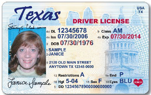 gold star top right texas drivers license