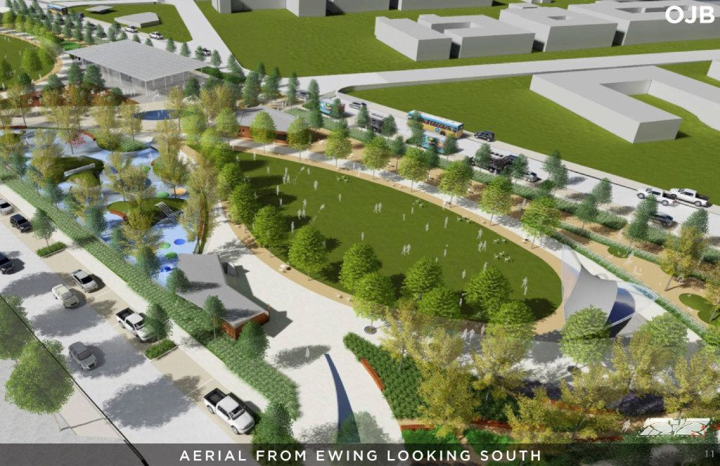 An aerial view from Ewing looking south, in a rendering from a Conceptual Plan for the Southern Gateway Public Green, a deck park over I-35E from South Marsalis Avenue to South Ewing Avenue, adjacent to the Dallas Zoo.