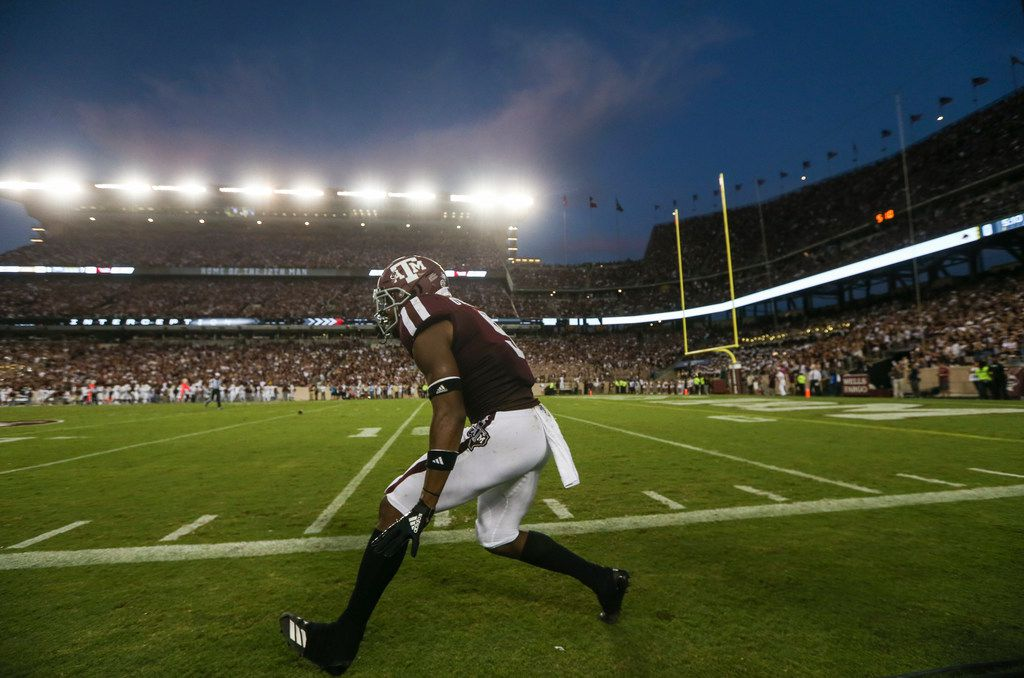 Texas A&M Aggies defensive back Leon O'Neal Jr. (9) celebrates a play during the first quarter of a college football game between Texas A&M and Texas State on Thursday, Aug. 29, 2019 at Kyle Field in College Station, Texas. (Ryan Michalesko/The Dallas Morning News)