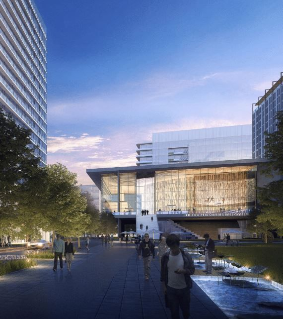 This rendering offers a glimpse at what a performing arts center at Hall Park might look like.