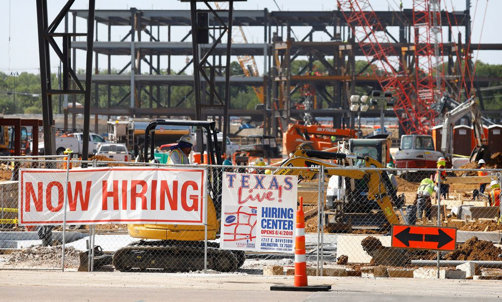 The hiring sign was out for prospective employees when the new Texas Live! was under construction near Globe Life Field in Arlington.