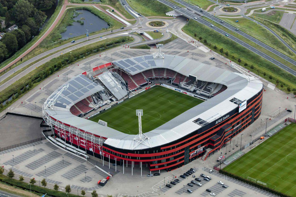 TOPSHOT - An aerial photograph taken on August 11, 2019 shows the collapsed roff of the AZ Alkmaar football club's AFAS Stadium in Alkmaar due to strong gusts of wind the day before. - High winds caused part of Dutch club AZ Alkmaar's stadium to collapse with officials relieved that the ground was empty at the time. Dramatic pictures emerged of the damage to the 17,000-capacity AFAS stadium in the northern Dutch city which was built 13 years ago. (Photo by - / ANP / AFP) / Netherlands OUT-/AFP/Getty Images