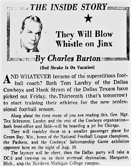 """July 1962: Tom Landry was not concerned about the """"risks"""" of beginning practice on Friday the 13th."""