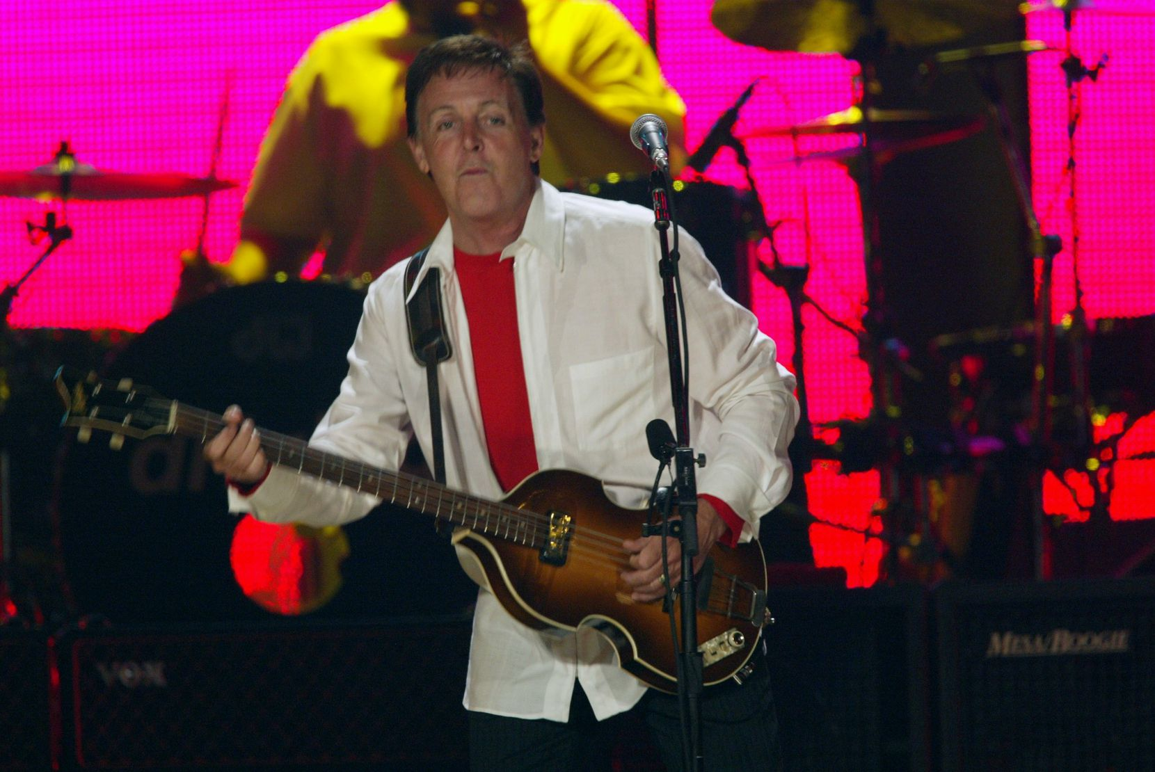 Former Beatle Paul McCartney in concert at Reunion Arena in 2002.