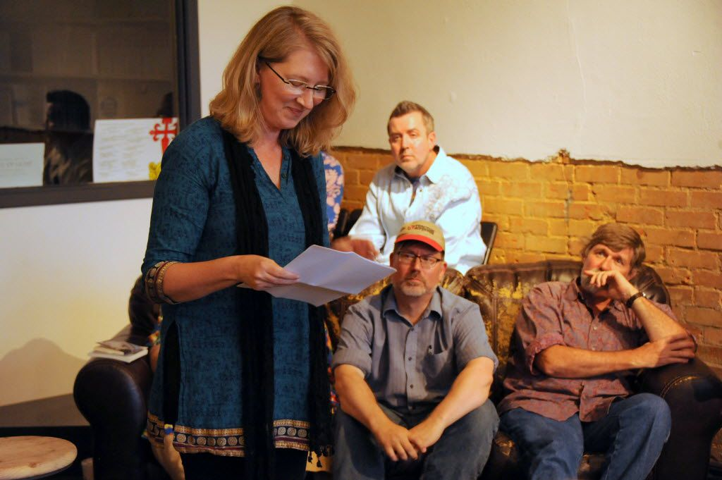 Robin Turner reads poetry at White Rock Zine Machine launch party at Deep Vellum Publishing in Dallas, TX on July 22, 2016. (Alexandra Olivia/ Special Contributor)
