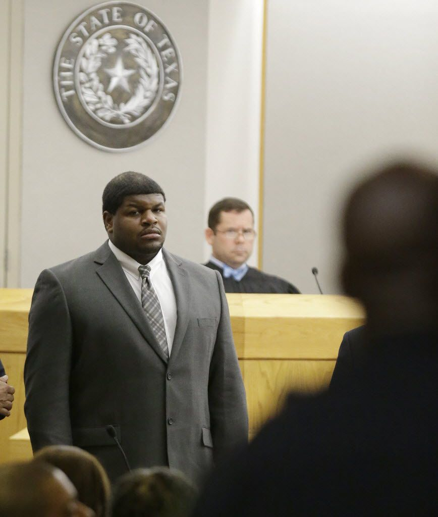 Former Dallas Cowboy Josh Brent stood in court during jury selection for his 2014 trial. State District Judge Robert Burns presided over the criminal trial.