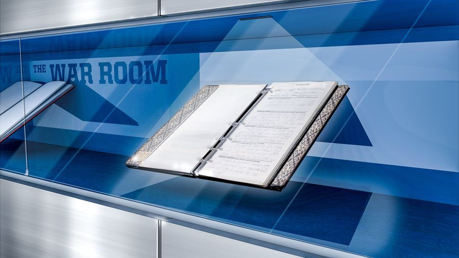 Fans will be able to read through digital scouting reports of Cowboys greats on display outside of the team's new war room at The Star in Frisco.