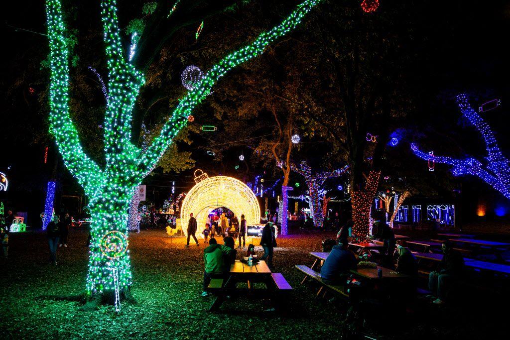 Las visitas de noche para ver lucecitas en el Zoológico de Dallas son posibles hasta el 1 de enero. (Shaban Athuman/The Dallas Morning News)