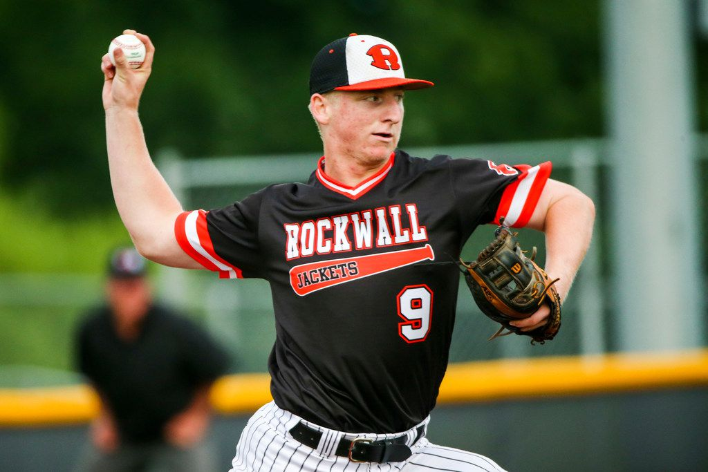 Rockwall's Brandon Troxler pitches during an 11-1 win over Prosper in Game 3 of the Class 6A Region II quarterfinal series. Troxler allowed three hits in throwing a complete game, and at the plate he homered and tripled. (Shaban Athuman/Staff Photographer)