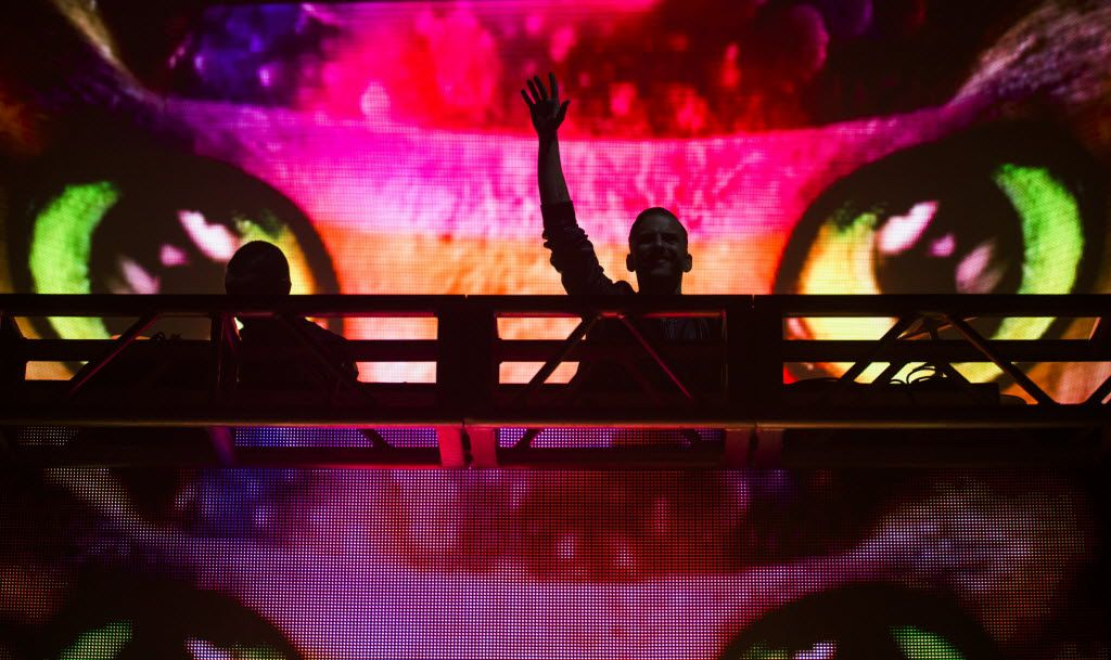DJ duo Galantis performs during the Lights All Night New Year's Eve party on Thursday, December 31, 2015 at Dallas Market Hall in Dallas.  (Ashley Landis/The Dallas Morning News)