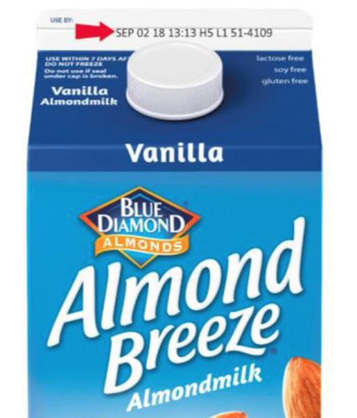 Check the date next to the arrow to determine if you need to return your almond milk.