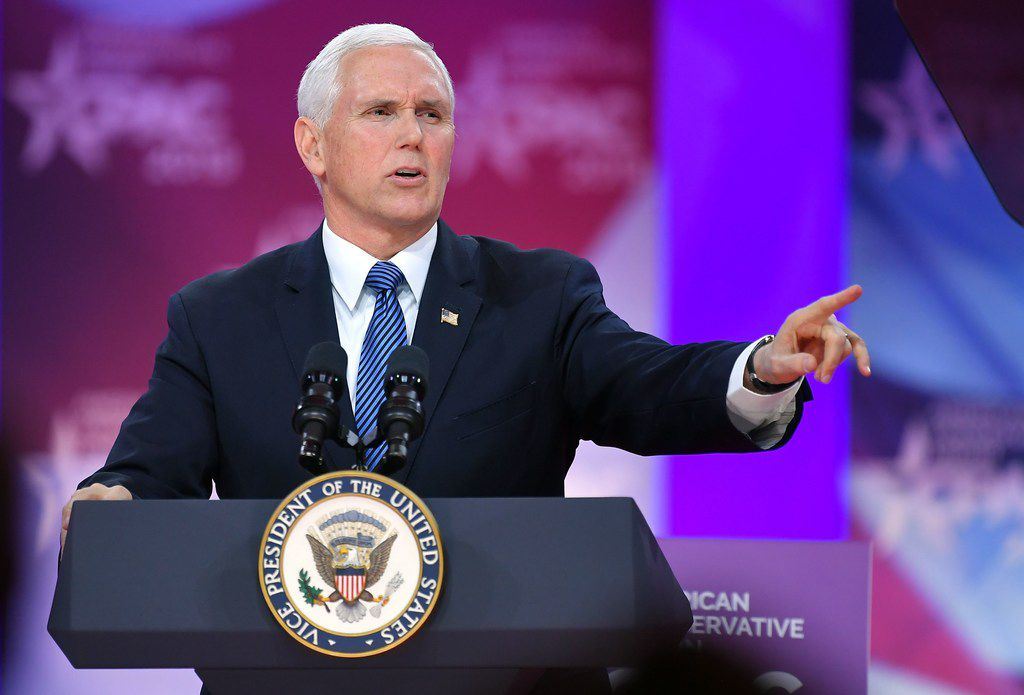 Vice President Mike Pence speaks during the annual Conservative Political Action Conference (CPAC) in National Harbor, Maryland, on March 1, 2019.
