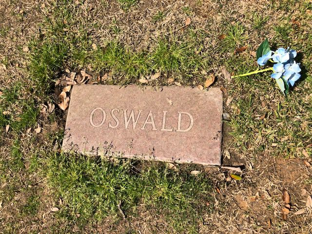 Oswald's simple gravestone. This is not the original.