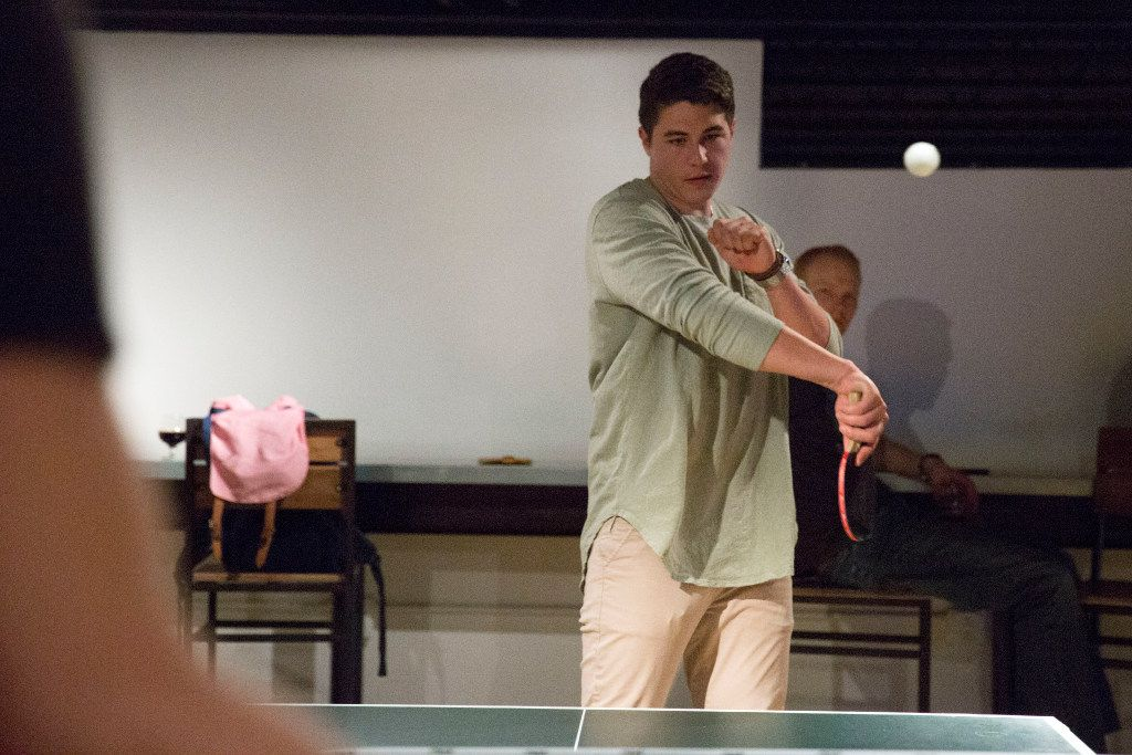 Cameron Eason (CQ) plays table tennis at Peticolas Brewing Company in Dallas, Texas, on Thursday, January 12, 2017.