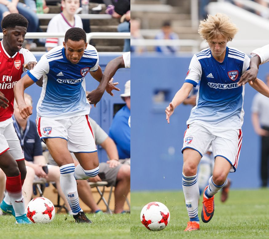 Bryan Reynolds (left) and Thomas Roberts (right) take on Arsenal in the 2018 Dallas Cup at the Cotton Bowl.