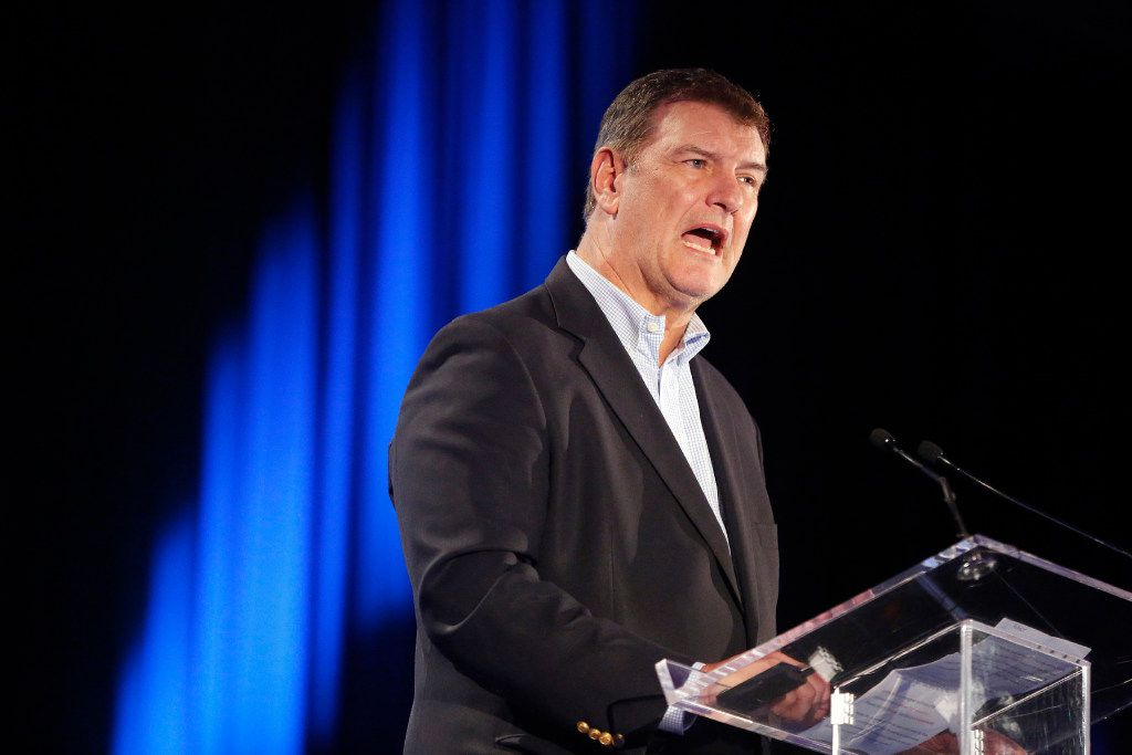 Dallas Mayor Mike Rawlings delivers his remarks during the opening session of The Dallas Festival of Ideas at the Kay Bailey Hutchison Convention Center, Saturday, April 29, 2017. (Tom Fox/The Dallas Morning News)