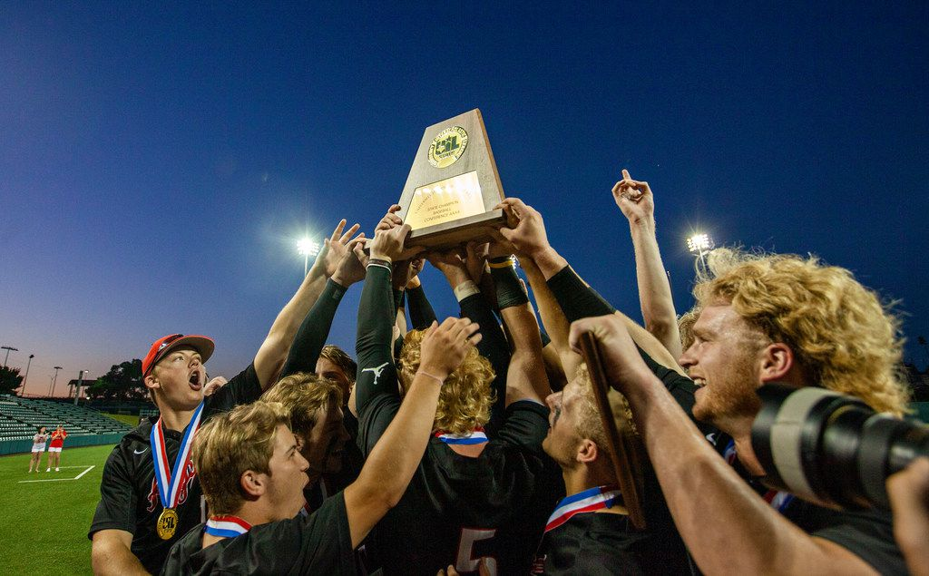 Argyle celebrate their win over Sweeny at their 4A UIL baseball state championship game at UFCU Disch-Falk Field on June 6, 2019 in Austin, Texas. (Thao Nguyen/Special Contributor)