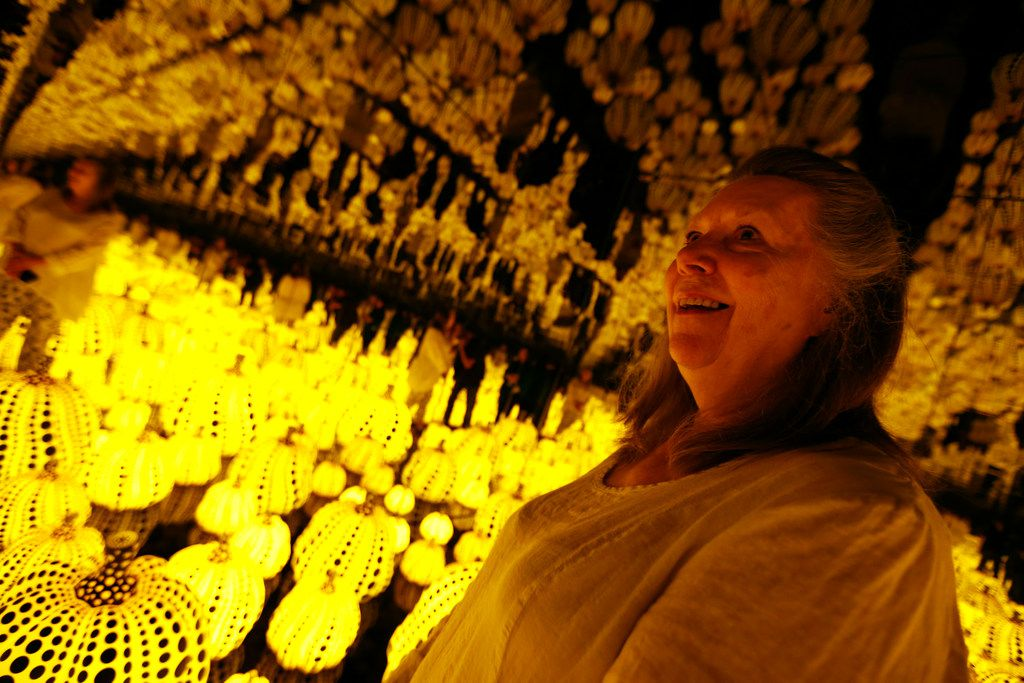 Connie Koval looks at the Kusama exhibit.