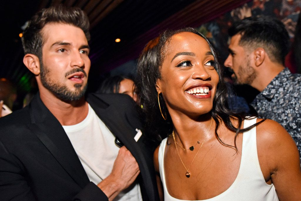 Bachelorette Rachel Lindsay and her fiance Bryan Abasolo at restaurant Nikkei in Uptown Dallas in August.