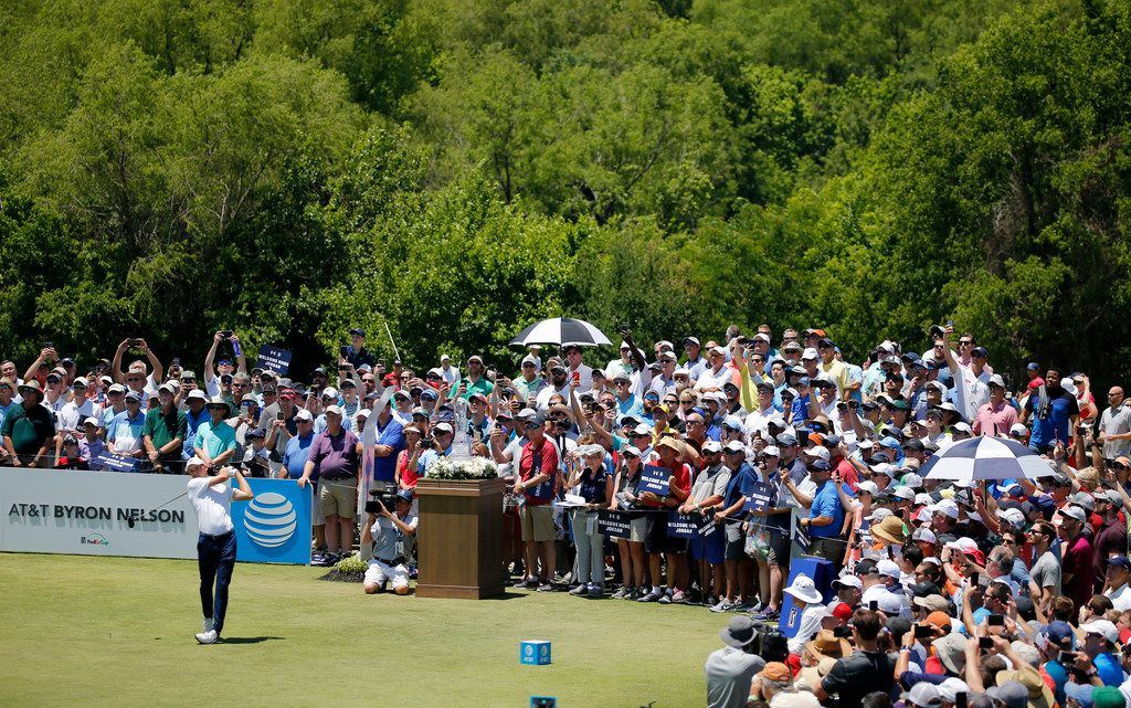 Jordan Spieth tees off on the first tee during the first round of the AT&T Byron Nelson golf tournament at Trinity Forest Golf Club in Dallas on Thursday, May 17, 2018. (Vernon Bryant/The Dallas Morning News)