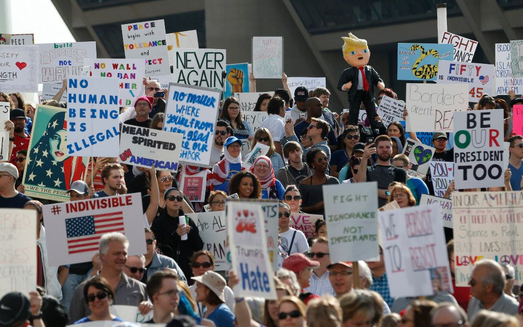 Thousands showed up to protest for immigrant and refugee communities in downtown in front of Dallas City Hall on February 18, 2017.  (Nathan Hunsinger/The Dallas Morning News)