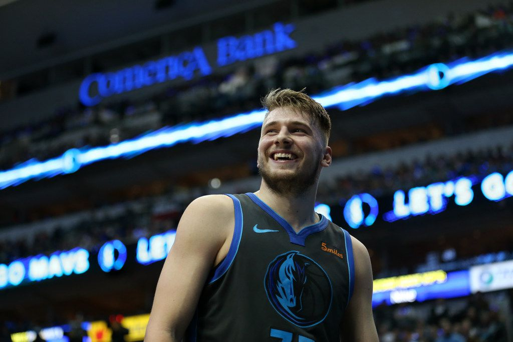 Dallas Mavericks forward Luka Doncic (77) smiles in the third quarter at the American Airlines Center in Dallas on Wednesday, Jan. 16, 2019. Dallas Mavericks lost 101-105. (Rose Baca/Staff Photographer)