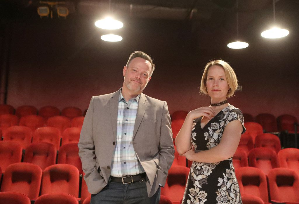 Executive producer Dana Schultes and managing director Mark Shum at Stage West Theatre in Fort Worth