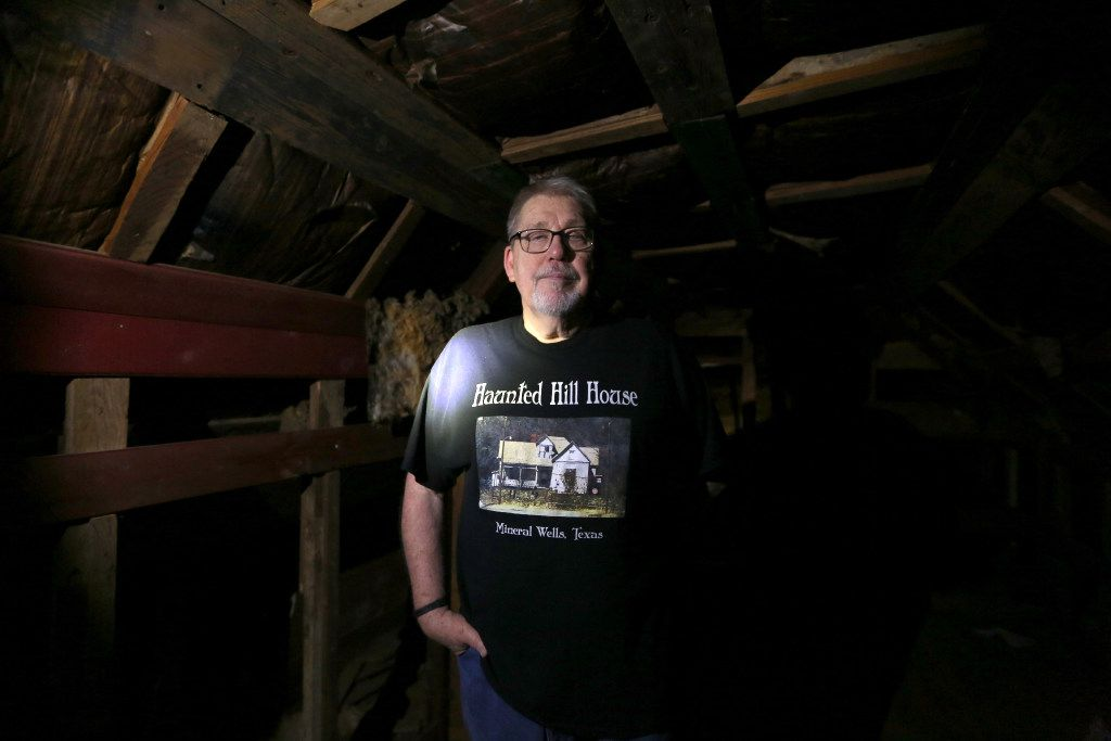 Owner Phil Kirchhoff poses for a photograph in Joshua's room at the Haunted Hill House in Mineral Wells, Texas on Friday, May 12, 2017. (Rose Baca/The Dallas Morning News)