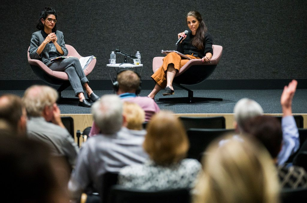 Lauren Smart (right), arts writer, and Sofia Bastidas (left), SMU arts curator, participate in The Dallas Morning News' Duets conversation on April 23, 2019.