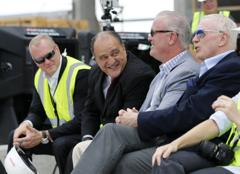 Dallas Cowboys executive vice president Jerry Jones Jr., Frisco mayor Maher Maso, Dallas Cowboys executive vice president Stephen Jones, and Dallas Cowboys owner and general manager Jerry Jones during a topping out ceremony at the Omni Frisco Hotel at The Star in Frisco on Wednesday, July 27, 2016. (Vernon Bryant/The Dallas Morning News)