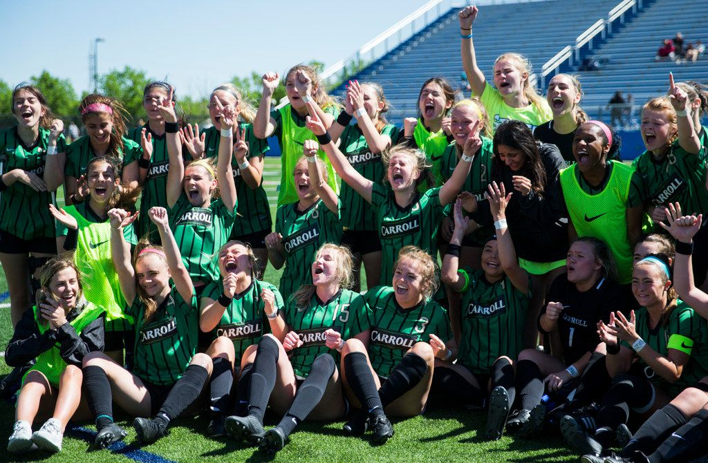 Southlake Carroll celebrates a 2-0 win after a UIL conference 6A girls state semifinal soccer game between Southlake Carroll High School and Lake Travis High School on Friday, April 19, 2019 at Birkelbach Field in Georgetown, Texas. (Ashley Landis/The Dallas Morning News)