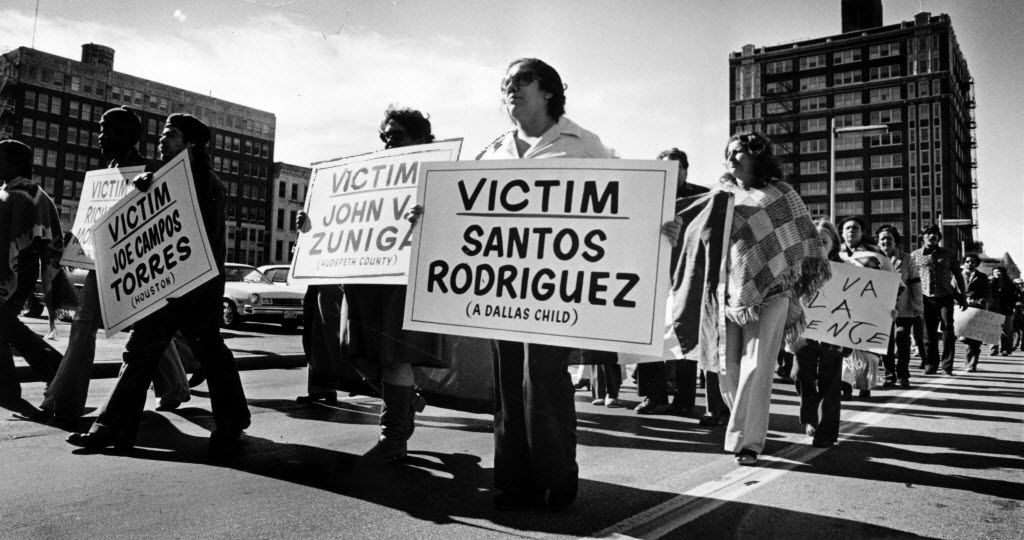 On Nov. 26, 1977, Bessie Rodriguez marched in a downtown rally protesting violence against children.